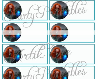 Brave Merida Birthday Party Gift Tags or Labels - Instant Download Princess Themed SALE!!