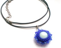 Violet Beaded Pendant - Seed Bead Pendant - Violet Necklace - Violet Pendant - Beadwoven Necklace - Beaded Gift For Her - Blue Necklace