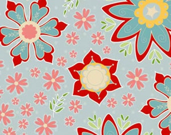 1 Yard - Main floral in Blue - Delighted Collection - The Quilted Fish for Riley Blake Designs - Blue, Red, Pink, Tan - Fabric Yardage