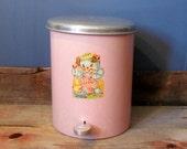 Vintage Beauty Can Pink Porcelain Enamel Step Diaper Pail