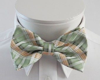 Mens Bowtie  Green With Light Peach And White Plaid  Pre Tied Bow Tie