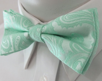 Mens Bowtie Pastel Mint Green Paisley PreTied Mans Bow Tie Pre Tied