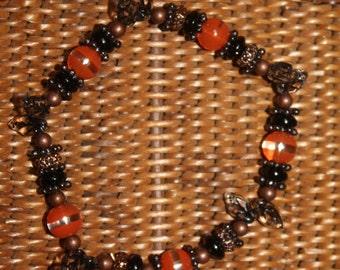 Black and Orange Pumpkins and Vines Halloween Stretch Bracelet