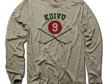 Koivu 9 Officially Licensed NHLPA Minnesota Long Sleeve Shirt S-3XL Koivu 9 Sticks G