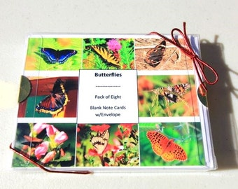 Butterflies Photography | Nature Insect Note Card Gift Set | Frameable Garden Art | Ready to Ship | Eight Pack Blank Notecards With Envelope