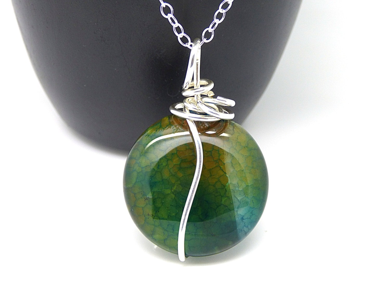 Green Agate Necklace Wire Wrapped Stone Pendant Sterling