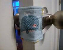 Sneaky Peek Baby Whale Nursery Door Muffler, Nursery Door Silencer, Nautical Baby Door Quieter, Whale  Door Muffler