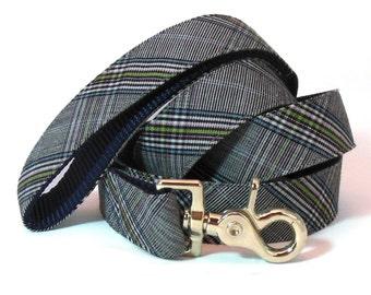 Plaid Dog Leash in Black, Blue and Green - Preppy Leash - Dog Lead
