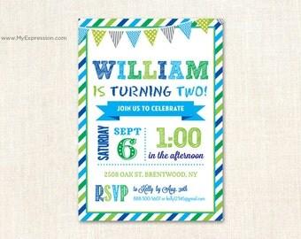Blue Green Birthday Party Invitations- Boy Birthday Invitations -  Digital or Printed