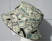 Money and Bling, Cash and Gold Chains Reversible Bucket hat