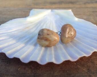 Pebble Earrings/ Stud Earrings/ Beach Stones/ Teardrop Earrings