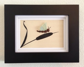 Sea glass art, pebble art, framed and matted art, home decor, beach home decor, unique gift, dragonfly, wall hanging