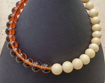 choker necklace in amber and nougat glass beads handmade