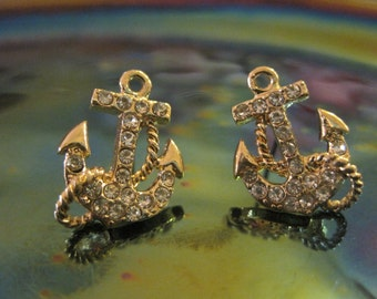 Gold Anchor Earrings - Stud Earrings - Rhinestone Anchor Earrings - Beach Earrings - Beach Wedding - Nautical Jewelry