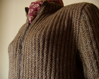 Brown Hand Knit Women's Cardigan with side pockets / Brown Cardigan / Hand Knit Women's Sweater/ Loose Sweater/ Brown Jumper