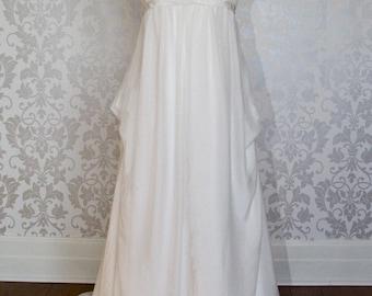 Empire Wedding Dress with V-neck Neckline Ivory Chiffon Chapel Train Wedding Gown 2014