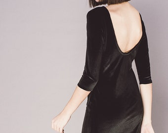 Black velvet open back minimal dress