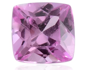 Pink Sapphire Synthetic Lab Created Loose Gemstone Cushion Cut 1A Quality 5mm TGW 0.65 cts.