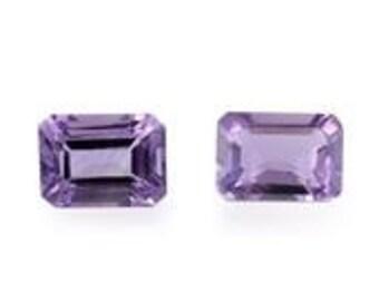 African Amethyst Loose Gemstones Set of 2 Octagon Cut 1A Quality 7x5mm TGW 1.40 cts.