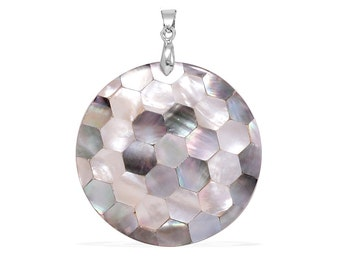 Large Shell Mosaic Pendant Silver-Tone Without Chain
