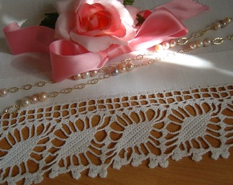 Lace crochet edging rhombs for flowering with. Border to apply. Traditional Italian white cotton lace. Made to order