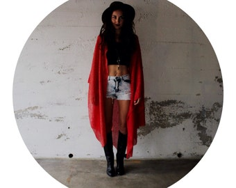 Handmade with Recycled Fabric Red Kimono