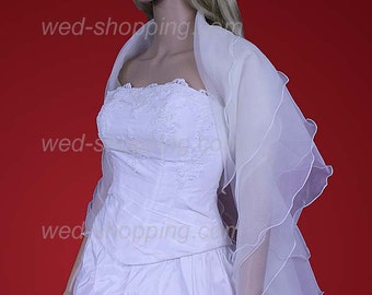 Organza bridal shrug white ivory wedding shawl wrap E1211