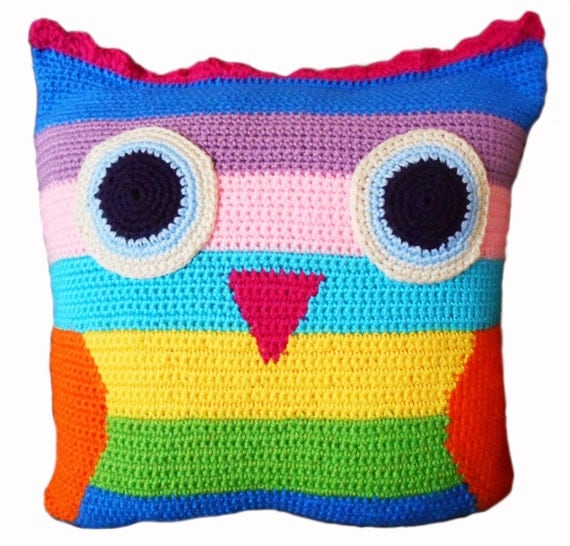 Owl Throw Pillow Etsy : Owl Crochet Throw Pillow by LoveArtPigs on Etsy
