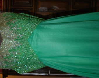 1960's Mike Benet Green Formal Sequinned Gown