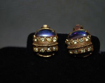 Vintage Florenza Earrings Gold tone with Pale Yellow Rhinestones and an Iridescent Purple stone