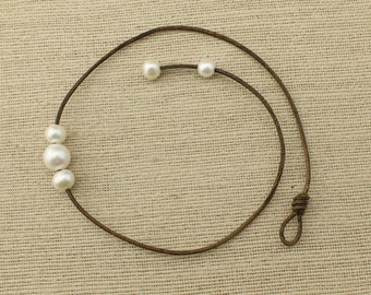ETS-N132 anklet white freshwater pearl ,leather anklet,freshwater pearl anklet,beautiful beach anklet ,natural pearl anklet