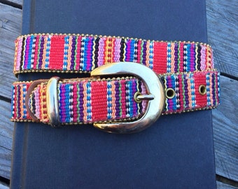 fkvintage Gold Bead and Cloth Woven Belt