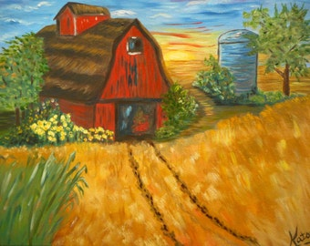 Barn Painting, old red barn, Midwest Farm, fall colors, wheat field, on the farm, oil painting, original art, landscape painting, red barn