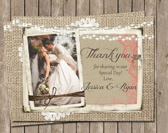 Rustic Wedding Thank You Card,  Burlap and Lace, Mason jar, Lights,  Coral, Personalized, Photo, Printable, Digital 4x6
