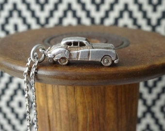LUXURY CAR PENDANT & sterling silver chain, miniature luxury car, sterling silver car, miniature car, sterling silver car, car necklace