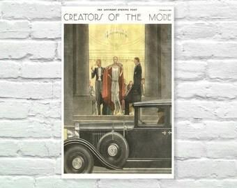 "The Saturday Evening Post - Creators of the Mode 1929 Print, Illustration, Art Posters, Minimalist Art, Vintage Advertising Poster 13"" x 19"""