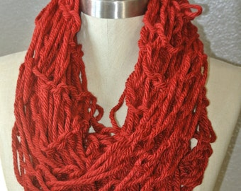 Arm Knitting Red Scarf