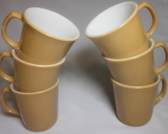 """6 Corelle """"Almond"""" Coffee cups /  mugs Very good used condition"""