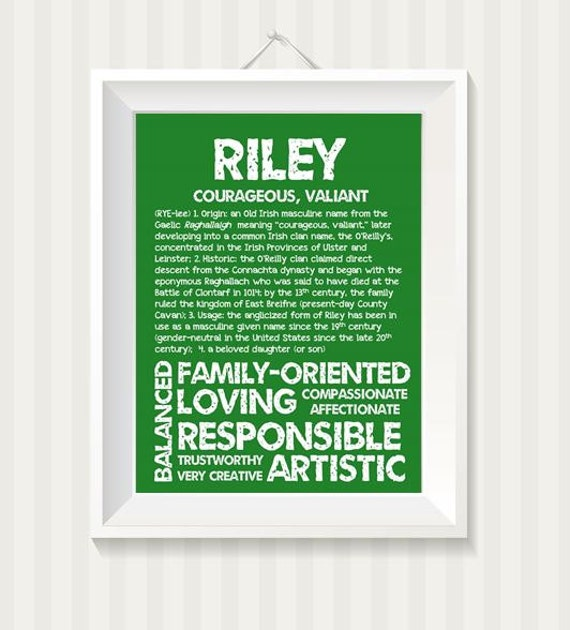 Riley Personalized Name Print Typography Print By