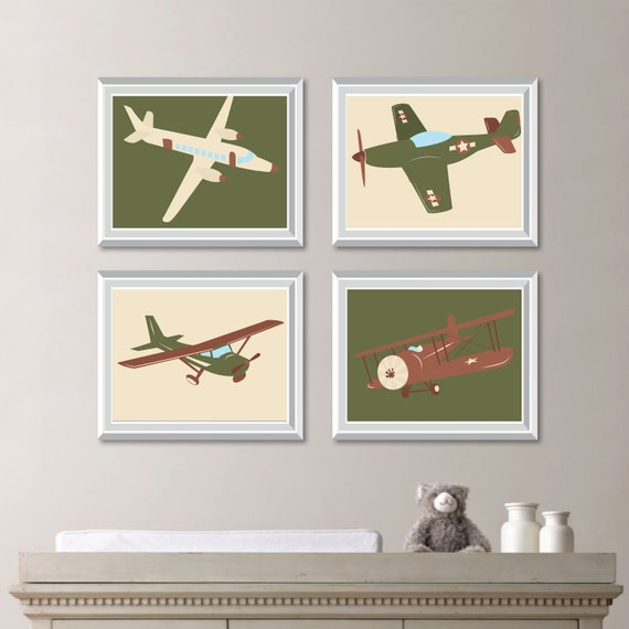 Baby boy nursery art vintage airplane print art airplane Vintage airplane decor for nursery