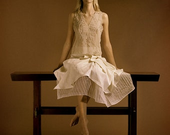 Silk Asymmetrical apron skirt over silk organza petticoat. Chiffon top