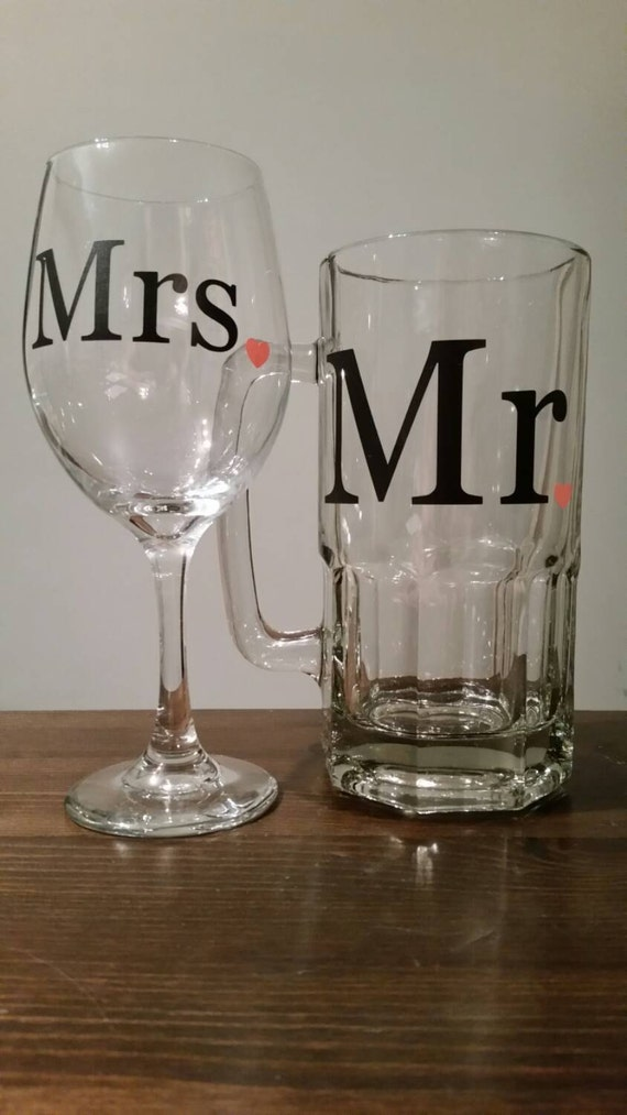 Extra Large Mr And Mrs Beer Mug And Wine Glass Set