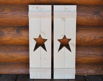 Primitive shutter with a star cutout. Unfinshed. Set of 2.