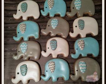 "Elephant Baby Shower decorated Sugar Cookies 2"" -1 dozen"