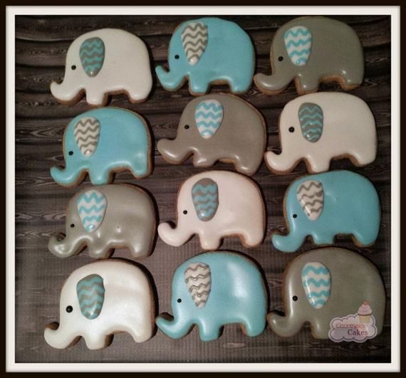 elephant baby shower decorated sugar cookies 2 1 dozen