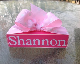 Name Wood Block. Wood Shelf Sitter. Personalized Wood Shelf Sitter.  New Baby Gift.