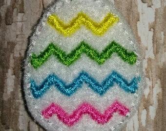 Set of 4 Multi-Color Chevron Easter Egg Easter Feltie Felt Embellishment Bow! Birthday Party Egg Hunt Pastel Eggs Bunny Planner Clip