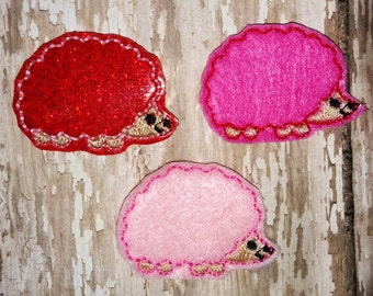 Set of 4 Hedgehog Hedgies Hedge Hog Valentines Valentine Day Feltie Felt Embellishment Bow! Birthday Party Tea Party Alice in Wonderland