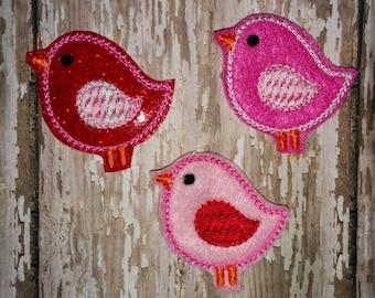Set of 4 Pink Red Birds Birdy Glitter Valentines Valentine Valentine's Day Feltie Felt Embellishment Bow! Birthday Party