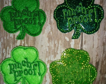 Set of 4 Pinch Proof Clovers Shamrocks Glitter St Patty Patricks Patrick Patrick's Day Feltie Paddy Paddy's Day Bow! Birthday Party Planner